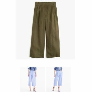 NWT J. Crew Olive Green Wide Leg Linen Cropped 👖